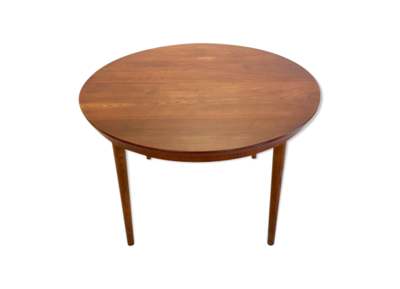Table ronde en teck avec 2 allonges bois mat riau - Table ronde avec allonges ...