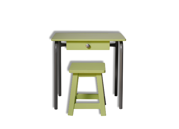 bureau enfant vert bois mat riau vert dans son jus vintage 21489. Black Bedroom Furniture Sets. Home Design Ideas