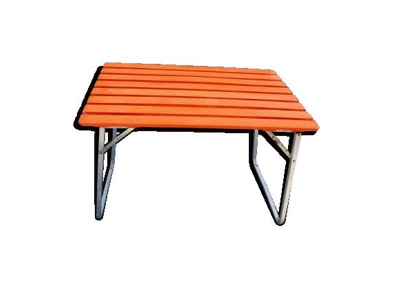 Table de camping vintage métal et bois pliante interieur exterieur
