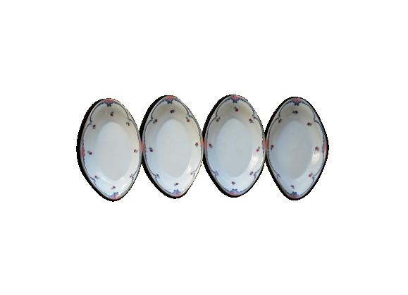Lot de quatre raviers en porcelaine de Limoges Lanternier