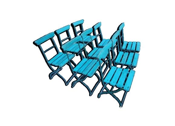 Lot de 9 chaises pliantes de jardin fer & bois anciennes du XIXème siècle
