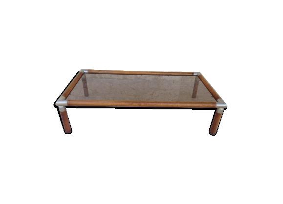 Table basse design vintage années 70 bois et verre fumé