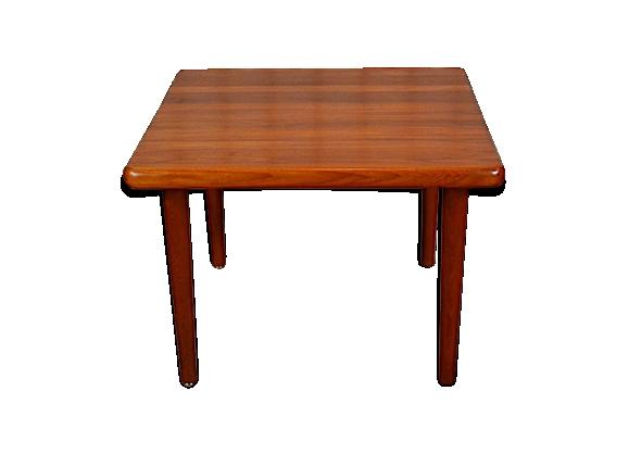 Table basse carrée design scandinave en teck vintage 1965
