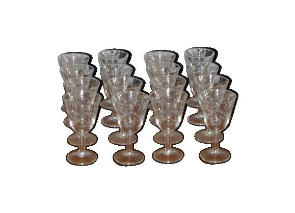Set de 12 verres a vin forme tulipe en verre transparent motifs sérigraphiés bleuets vintage 1950