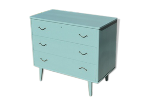 petite commode vintage bois mat riau bleu bon tat vintage. Black Bedroom Furniture Sets. Home Design Ideas