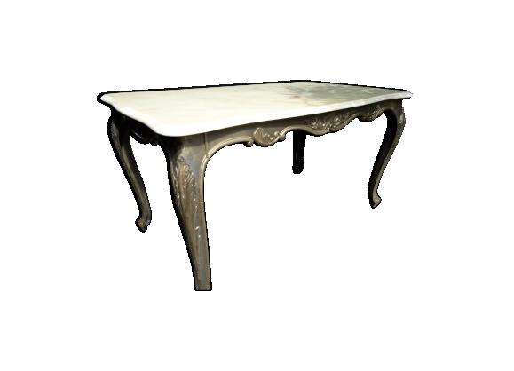 Table basse des années 40 en fer forgé et marbre