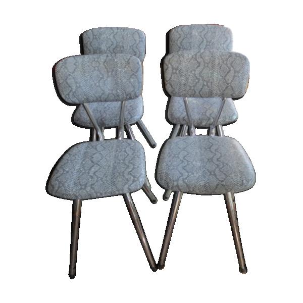 Ensemble de 4 chaises de cuisine en inox ann es 70 m tal for Etabli cuisine inox