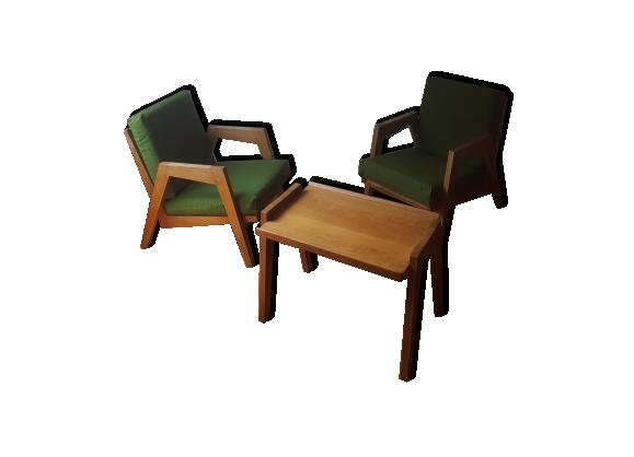 paire de fauteuils et sa table basse pieds compas ann es. Black Bedroom Furniture Sets. Home Design Ideas