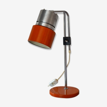 Lampe scandinave coulissante orange - vintage 70s