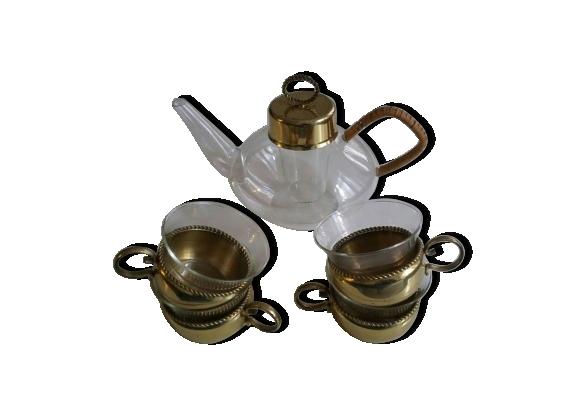 Théière en verre Scott & Mayence en laiton théière et tasses