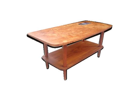 table basse vallauris 1960 bois mat riau marron dans son jus vintage. Black Bedroom Furniture Sets. Home Design Ideas
