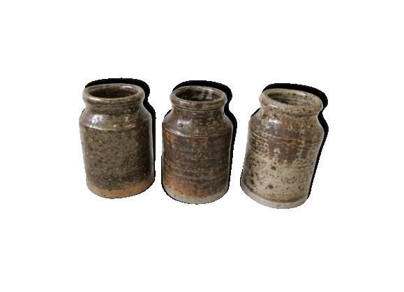 Ensemble de 3 pots en grès vintage