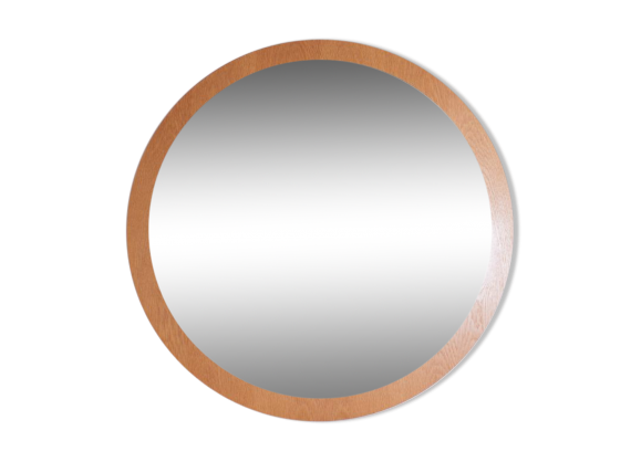 Grand miroir rond kama bois mat riau marron bon for Grand miroir rond