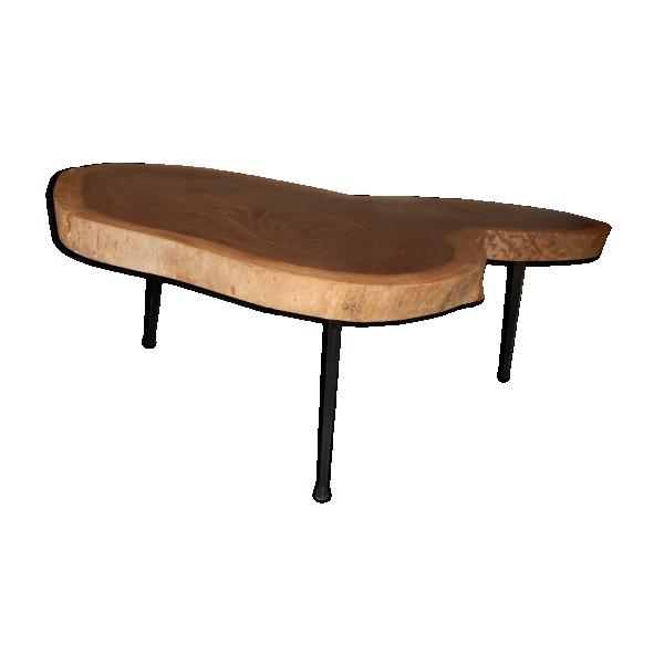 Table basse tronc forme libre en noyer pied fuseau design for Table noyer 6 pieds