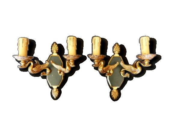 Ancienne paire d'applique bronze doré laqué vert style empire cygne gau