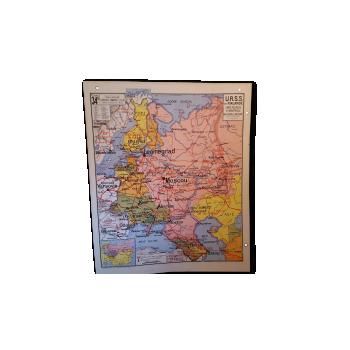Globe terrestre vintage d 39 occasion carte g ographique ancienne - Carte murale scolaire ancienne ...