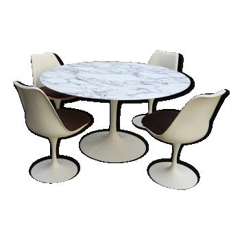 Table Knoll marbre 137 cm + 4 chaises Knoll, 1977