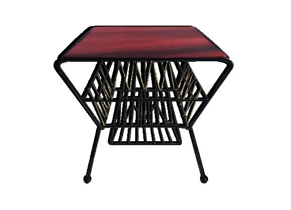 Ancienne table basse porte revues metal noir et scoubidou