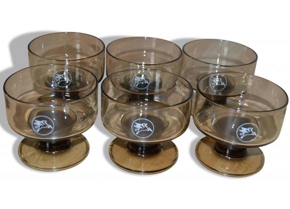 Lot de 6 verres Pégase pieds noirs fumés - Années 70