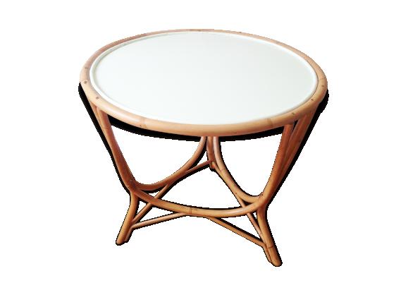 Table ronde en rotin Eymoutiers  rotin et osier  vert  bon éta -> Table Ronde En Rotin