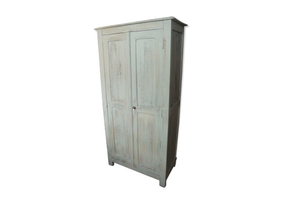 armoire parisienne vintage 40 50 patin e blanc mint. Black Bedroom Furniture Sets. Home Design Ideas