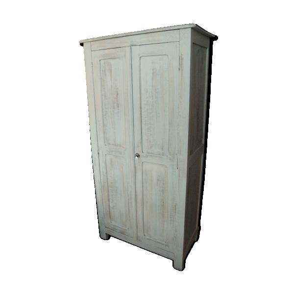 armoire parisienne vintage 40 50 patin e blanc mint vieilli bois mat riau blanc bon. Black Bedroom Furniture Sets. Home Design Ideas