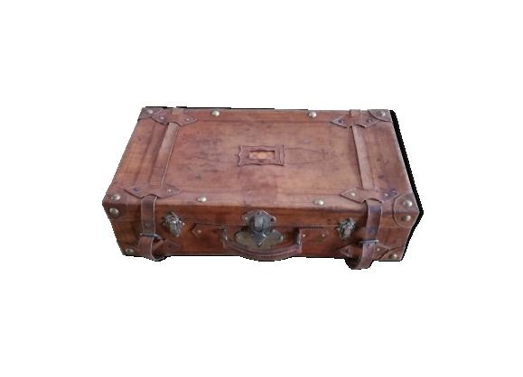 Valise vintage camel carton et cuir