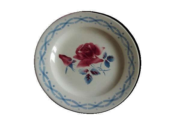 Lot 4 Petites Assiettes Digoin Sarreguemines Collection Janine Fleurs Rouge Bleu Art Deco Dessert Fromages