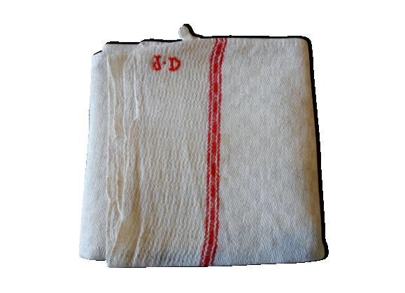 Torchon ancien, tissage en damier petits carrés, monogramme