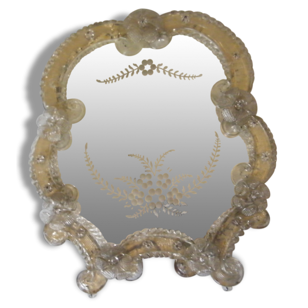 miroir v nitien cadre en verre de murano verre et cristal dans son jus classique 23054. Black Bedroom Furniture Sets. Home Design Ideas