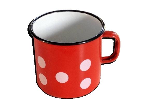 Mug en tôle émaillée rouge à pois blanc