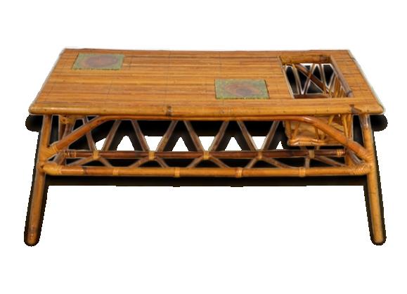 Table basse en rotin double plateau années 50 vintage