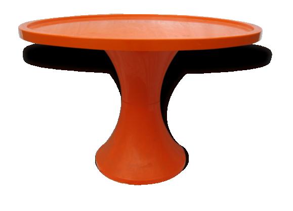 table basse orange stamp vintage seventies plastique. Black Bedroom Furniture Sets. Home Design Ideas