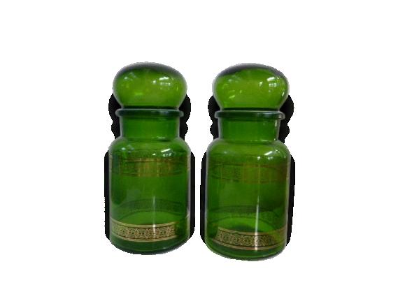 Lot de 2 bocaux vert et motifs dorés, vintage 1970