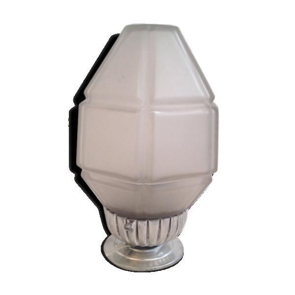 lampe de chevet globe art d co ovo de 1940 50 verre et cristal blanc bon tat art d co. Black Bedroom Furniture Sets. Home Design Ideas