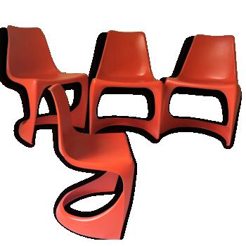 "LOT de 4 chaises ""CADO"" Steen OSTERGAARD - années 60"