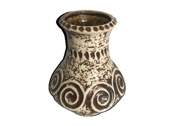 Vase Jaspa céramique Beige & Marron décoration années 70 vintage
