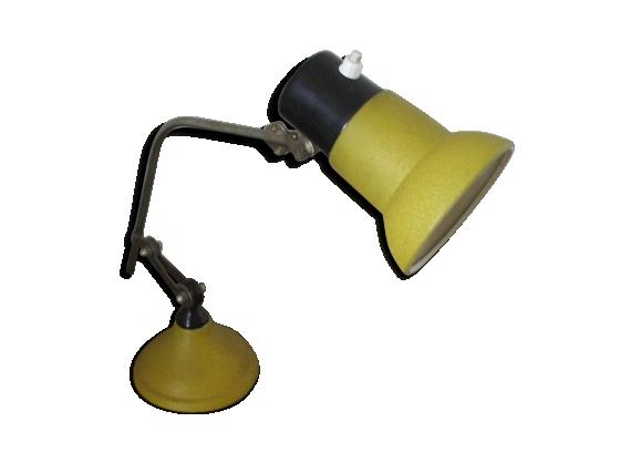 Lampe articulée de bureau, d'atelier jaune années 50/60