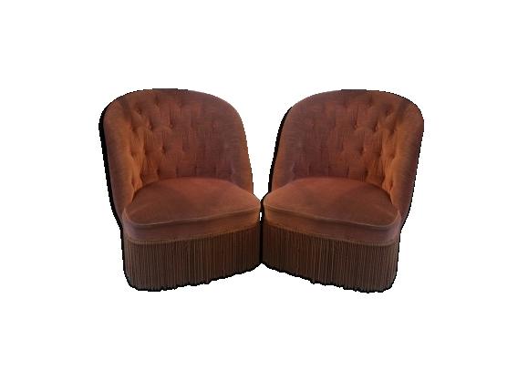 Paire de fauteuils crapauds vieux roses