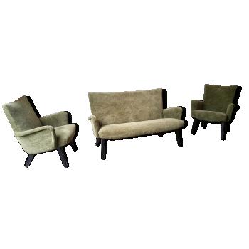 Set superbe 1 canapé sofa cocktail ( et ses 2 fauteuils ) ARNO VOTTELER pour Knoll années 50 60