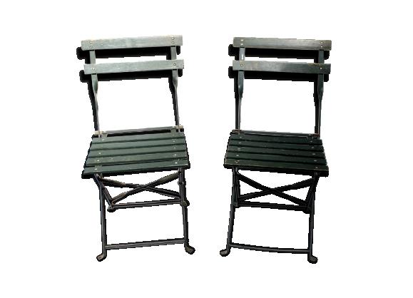Lot de 2 chaises pliantes en bois vintage