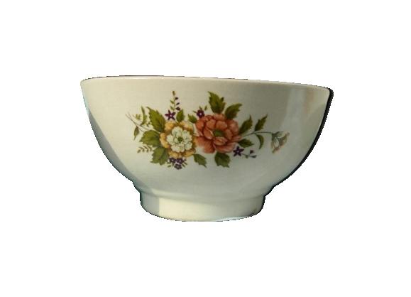 Bol vintage motif fleurs en céramique