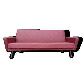 Canapé convertible vintage, simili cuir rouge