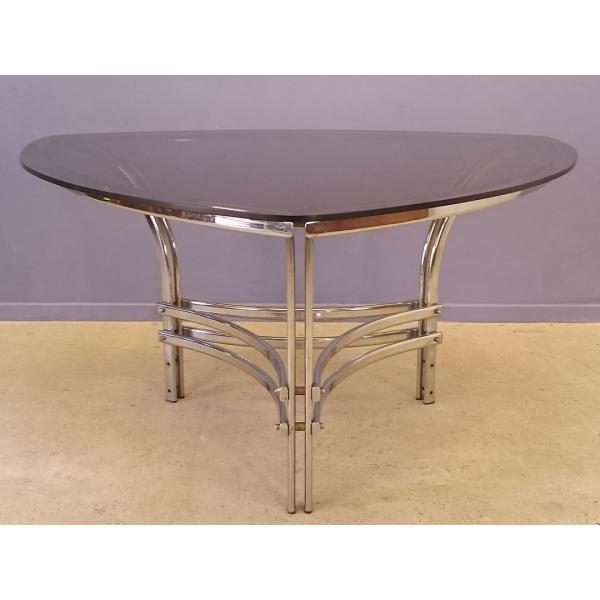 table repas triangulaire en courbe en verre et m tal design 1970 m tal argent couleur. Black Bedroom Furniture Sets. Home Design Ideas