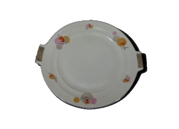 Plat a gateaux en porcelaine blanche vintage, Tchecoslovaquie RK, decor floral