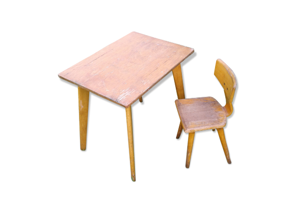 ensemble table et chaise pieds compas pour enfant vintage bois mat riau bois couleur. Black Bedroom Furniture Sets. Home Design Ideas