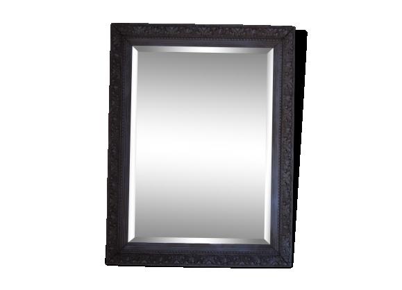 Miroir ancien patiné vieux bleu 100x80cm
