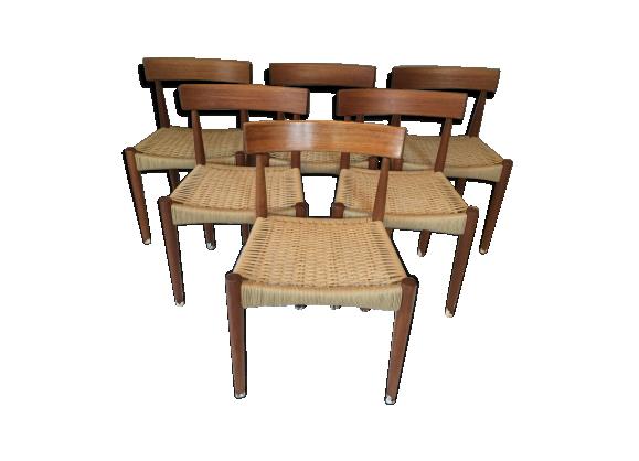lot de 6 chaises scandinaves en teck par arne hovmand olsen pour mogens kold teck bois. Black Bedroom Furniture Sets. Home Design Ideas
