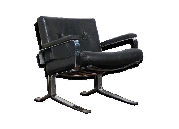 Fauteuil noir design cuir et chrome 1960