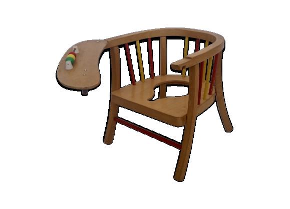 petit fauteuil baumann bois mat riau marron dans son jus vintage. Black Bedroom Furniture Sets. Home Design Ideas